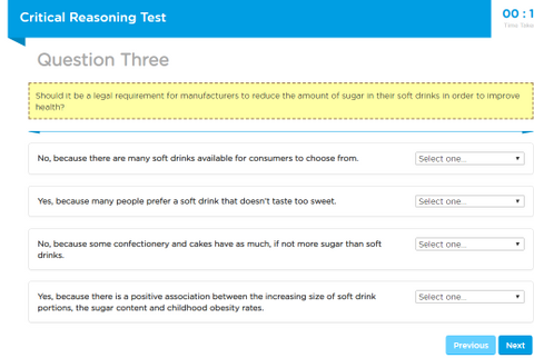 Capp Critical Reasoning Test Example Question