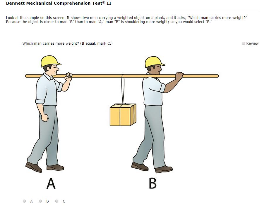 Bennett Mechanical Comprehension Test Sample Question