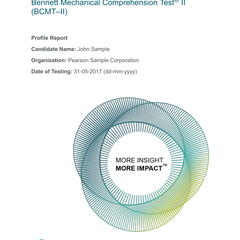 Bennett Mechanical Comprehension Test Sample Score Report